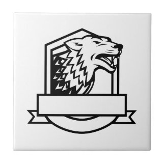 Wolf Growling Crest Retro Tile