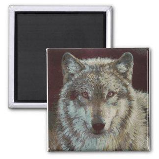 wolf handpainted magnet