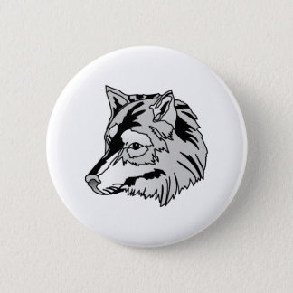 Wolf Head 2 Inch Round Button
