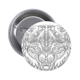 wolf head 2 inch round button