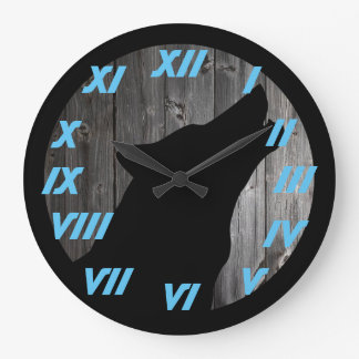 wolf head blue numbers large clock