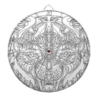 wolf head dartboard with darts