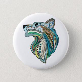 Wolf head ethnic ornament 2 inch round button