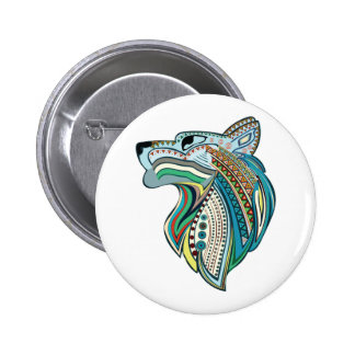 Wolf head ethnic ornament 2 inch round button
