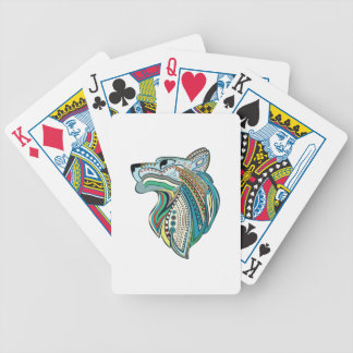 Wolf head ethnic ornament bicycle playing cards