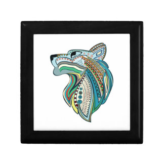 Wolf head ethnic ornament gift box