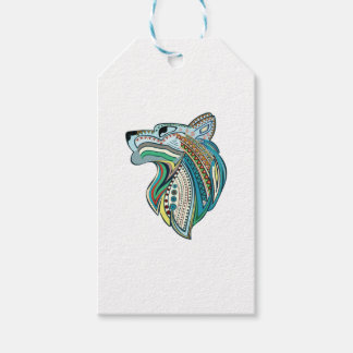 Wolf head ethnic ornament gift tags