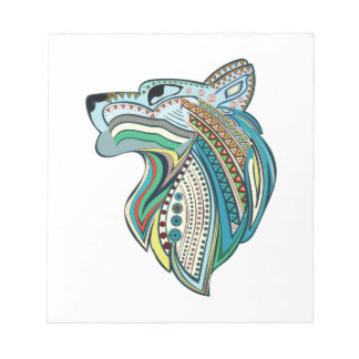 Wolf head ethnic ornament notepad