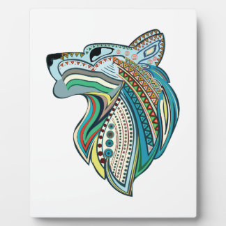 Wolf head ethnic ornament plaque