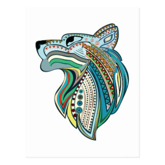 Wolf head ethnic ornament postcard