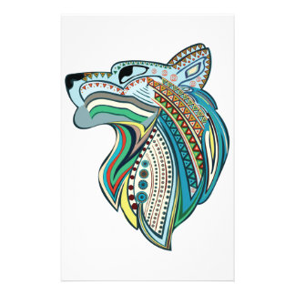Wolf head ethnic ornament stationery