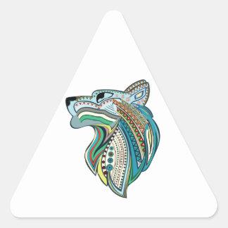 Wolf head ethnic ornament triangle sticker