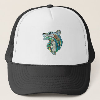 Wolf head ethnic ornament trucker hat