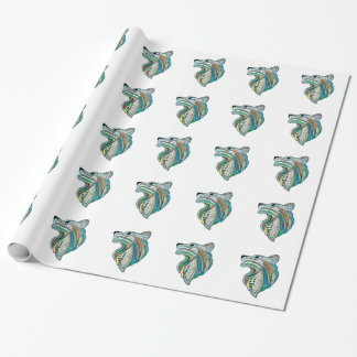 Wolf head ethnic ornament wrapping paper