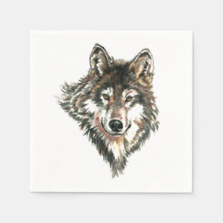 Wolf Head logo Watercolor art Paper Napkins