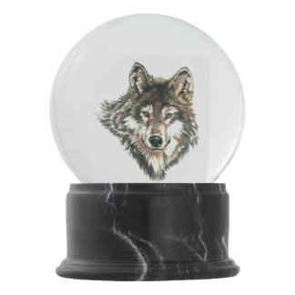 Wolf Head logo Watercolor art Snow Globe