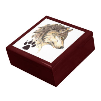 Wolf Head Profile with Paw Print Trinket Boxes