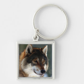 Wolf Head Silver-Colored Square Keychain