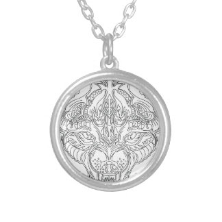 wolf head silver plated necklace