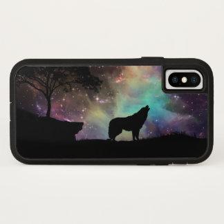 Wolf howl moon night stars wild life animal trees iPhone x case