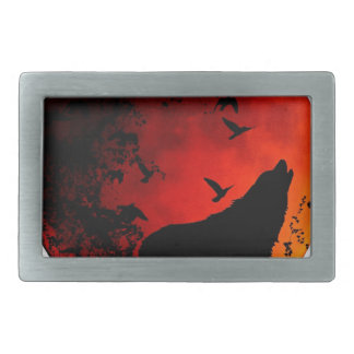 wolf howl rectangular belt buckles