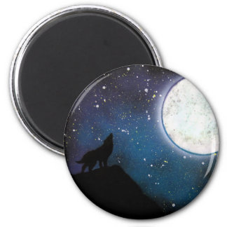 Wolf Howling at Moon Spray Paint Art Painting 2 Inch Round Magnet