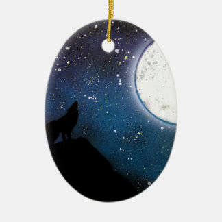 Wolf Howling at Moon Spray Paint Art Painting Ceramic Ornament