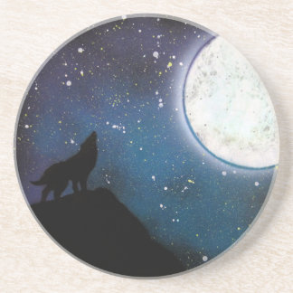 Wolf Howling at Moon Spray Paint Art Painting Coaster
