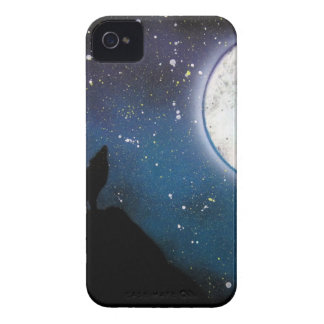 Wolf Howling at Moon Spray Paint Art Painting iPhone 4 Case-Mate Case