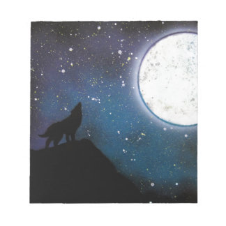 Wolf Howling at Moon Spray Paint Art Painting Notepad