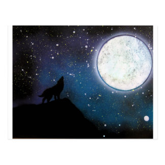 Wolf Howling at Moon Spray Paint Art Painting Postcard