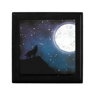 Wolf Howling at Moon Spray Paint Art Painting Trinket Box