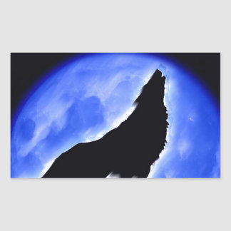 Wolf Howling at Moon Rectangle Stickers
