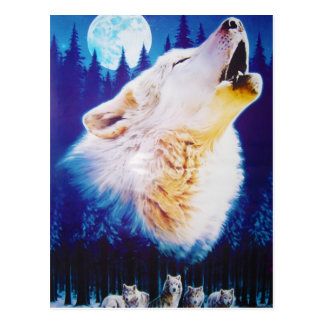 Wolf Howling at the Full Blue Moon Postcard