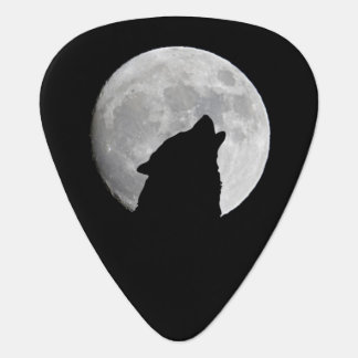 Wolf Howling at The Full Moon Guitar Pick