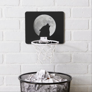 Wolf Howling at The Full Moon Mini Basketball Hoop