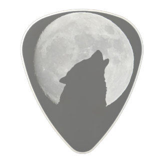 Wolf Howling at The Full Moon Polycarbonate Guitar Pick