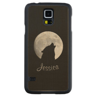 Wolf Howling at The Full Moon, Your Name Carved Maple Galaxy S5 Case
