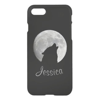 Wolf Howling at The Full Moon, Your Name iPhone 7 Case