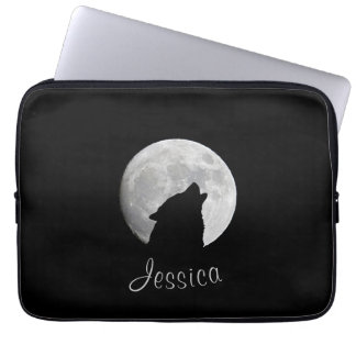 Wolf Howling at The Full Moon, Your Name Laptop Sleeve