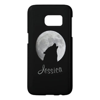 Wolf Howling at The Full Moon, Your Name Samsung Galaxy S7 Case