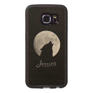 Wolf Howling at The Full Moon, Your Name Wood Phone Case