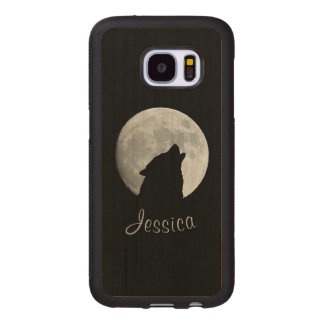 Wolf Howling at The Full Moon, Your Name Wood Samsung Galaxy S7 Case