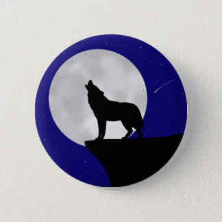 Wolf Howling at the Moon 2 Inch Round Button