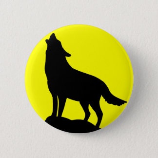 Wolf Howling at the Moon. 2 Inch Round Button