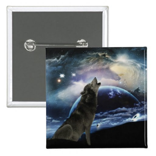Wolf howling at the moon buttons