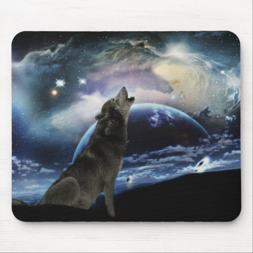 Wolf howling at the moon mouse pads