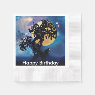 Wolf howling at the moon paper napkins