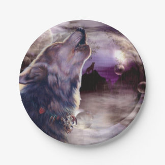 Wolf Howling at The Moon Paper Plate
