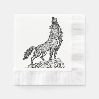 Wolf Howling at the Moon Silhouette Disposable Napkin